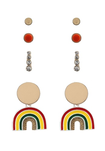 Red's Revenge purple and multi 4-In-1 Over The Rainbow Dangle & Studs Earrings Set 25482AC4649C62GS_1