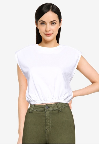 Noisy May white Ossy Padded Cropped Top 3CEA9AA9E42BBBGS_1