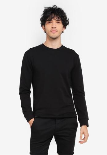 Topman black Black Ultra Muscle Fit Sweatshirt TO413AA0SR9DMY_1