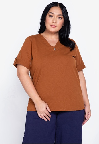 Maxine brown Plus Size V Neck Blouse Short Sleeves 2A938AA9879890GS_1