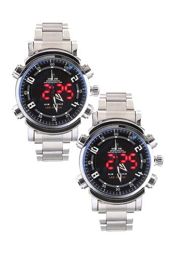 Weide silver Bundle 2 Units Weide WH-1101 Dual Time Led Analog Digital Sport Watch Silver Black WE079AC0RQN0MY_1