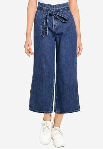ZALORA BASICS blue High Rise Paperbag Straight Leg Jeans B1F75AA3EF46F6GS_1