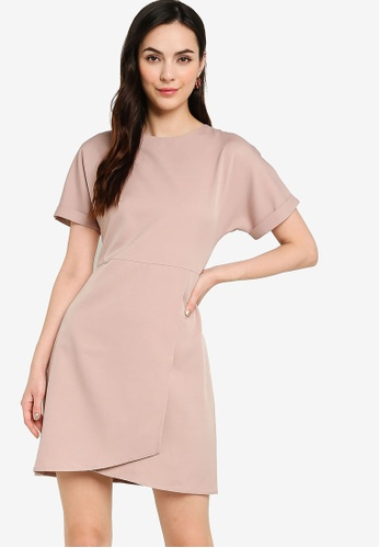 ZALORA WORK 粉紅色 Rolled Up Sleeve Wrap Mini Dress 171AFAA055648DGS_1