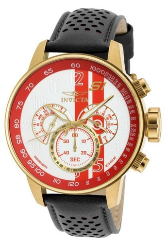 INVICTA red and gold Invicta S1 Rally Men 48mm Case Black, Brown, Red Leather Strap White, Red Dial Quartz Watch 19906 w/ Yellow Impact Case IN968AC0FVSXSG_1