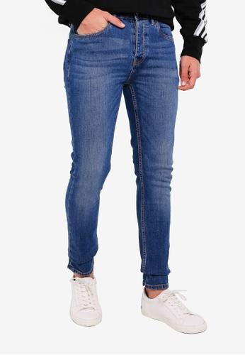 Topman 藍色 Blue Skinny Jeans D24B2AA70F8090GS_1