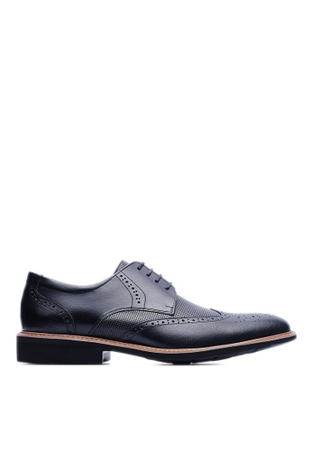 Life8 black Lightweight Wax Cow Leather Embossing Derby Shoes-09215-Black LI286SH41USCMY_1
