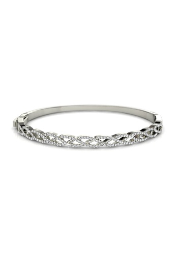 Her Jewellery silver Swarovski® Crystals - Braided Bangle (White Gold) (18K White Gold Plated) Her Jewellery HE581AC0R9UHMY_1