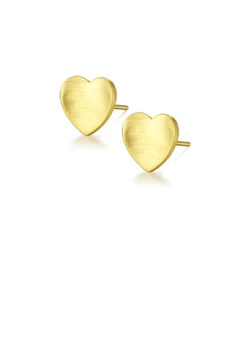 Glamorousky silver 925 Sterling Silver Plated Gold Simple Romantic Heart-shaped Stud Earrings A3588ACA1CF22EGS_1