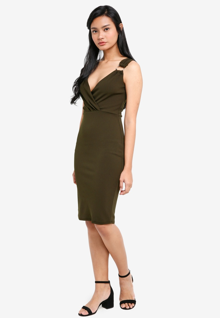 Dorothy Wrap Bodycon Green Khaki Hardware Perkins w8AUntqv