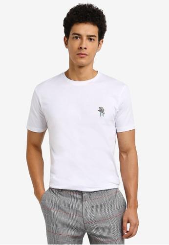 Topman white Animal Badge T-Shirt 0EF26AA893004FGS_1