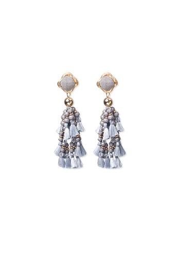 FAWNXFERN grey and gold Eva Chandelier Tassel Earrings in Grey 4347BAC6D5923BGS_1