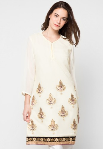 CHANIRA FESTIVE COLLECTION beige Roshni Embroidered Tunic CH354AA62BINID_1