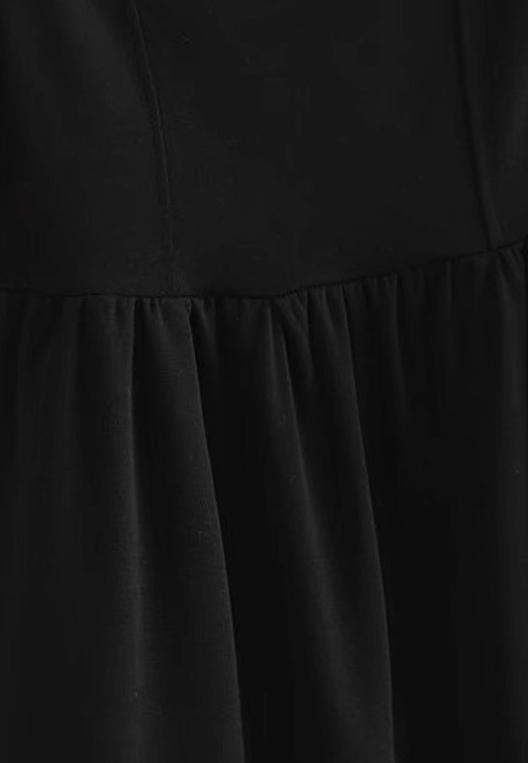 Sleeve Dress Sunnydaysweety Black 2018 New Piece One Black Bubble A051603 qnfwwtRHW