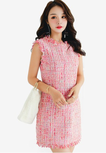 Shopsfashion red Tweed Shift Dress 3066FAAD8966E0GS_1