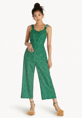 1fa86710622 Shop Pomelo Ruffled Shoulder Floral Jumpsuit - Green Online on ZALORA  Philippines