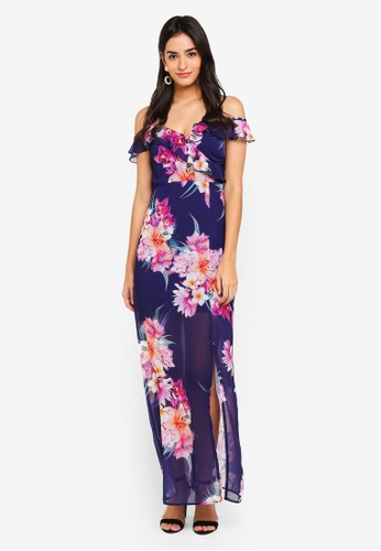 Dorothy Perkins navy Navy Tropical Maxi Dress 71EA2AA9AD3445GS_1