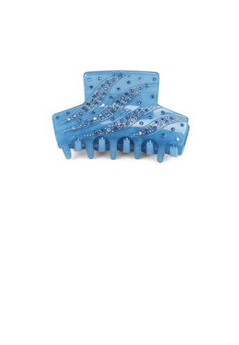 Glamorousky blue Fashion and Elegant Blue Pattern Geometric Hair Slide with Cubic Zirconia 68142AC3533A65GS_1