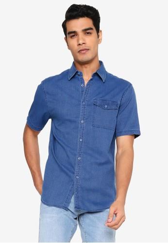 Electro Denim Lab blue Dobby Indigo Shirt DA718AA8FBB058GS_1