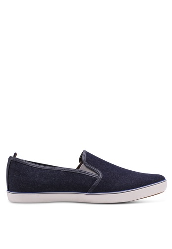 Burton Menswear London navy Navy Chambray Slip On Plimsolls 09888SHB7B04E3GS_1
