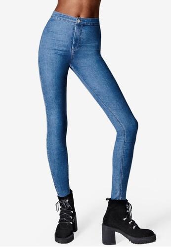 TOPSHOP blue MOTO Blue Raw Hem Joni Jeans TO412AA29DBUMY_1