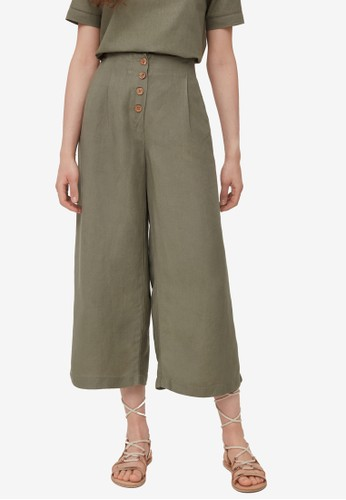 OVS green Buttoned Culotte Trousers 31185AA84363BDGS_1