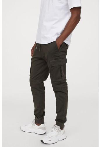 H&M green Cotton cargo joggers C2EDCAA082D97BGS_1