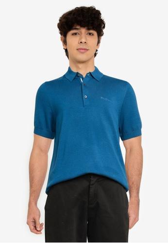 Ben Sherman grey Short Sleeve Signature Knitted Polo Shirt AA8FDAA9CBF44AGS_1