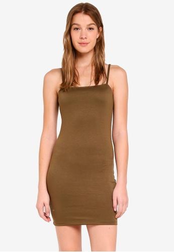 Cotton On brown Kimi Straight Neck Bodycon Mini Dress 677E0AA76D49B5GS_1