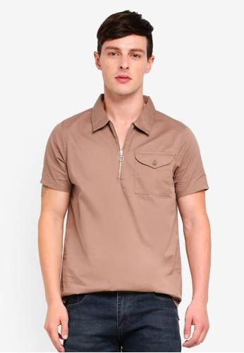 Brave Soul brown Short Sleeve Zip Shirt 3B41AAA5C40B3FGS_1