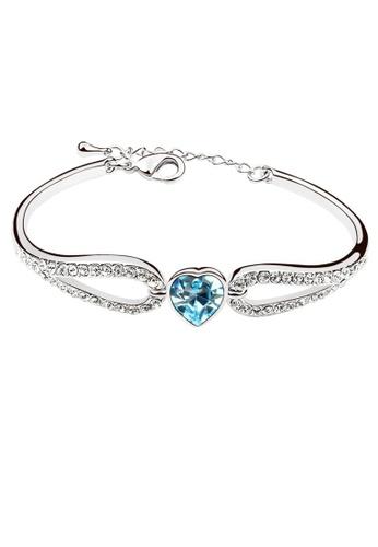 LOVENGIFTS blue LOVENGIFTS Sweet Girl Heart Bangle (Blue) LI189AC28MVVMY_1