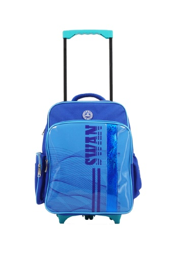Swan blue Swan Kid Children School Bag Cubic Roll (Blue) Spinal Protection Back Support  Swan Series Swan Bag 39D59KCD6CB5F6GS_1