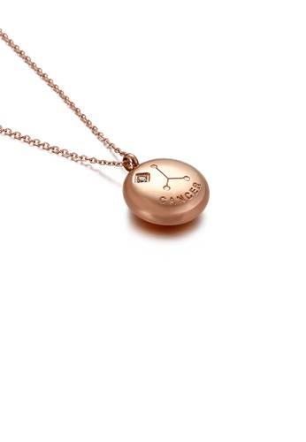 Glamorousky white Fashion and Simple Plated Rose Gold Twelve Constellations Cancer Hand Round 316L Stainless Steel Pendant with Cubic Zirconia and Necklace 8A331AC733A38AGS_1
