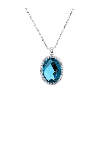 Glamorousky blue Glimmering Pendant with Silver Austrian Element Crystal Blue CZ and Necklace B2F24ACD44E8C6GS_1