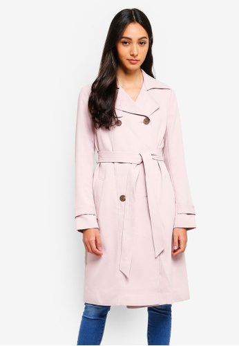 Forever New pink Juliana Long Textured Coat 621B4AA9097F0AGS_1
