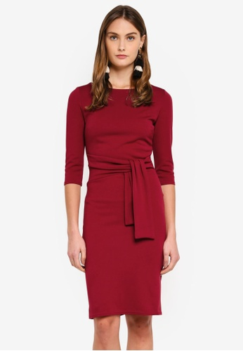 Goddiva red Pencil Dress With A Tie Detail 84CB4AA6A4F042GS_1
