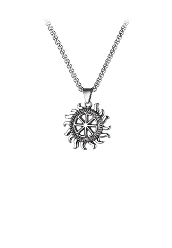 Glamorousky silver Fashion Simple Sun Pendant with 316L Stainless Steel Necklace 6D564ACE57D003GS_1