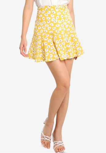 ZALORA BASICS yellow Printed Ruffle Hem Skirt with Self Tie E796AAAE8F4EC6GS_1