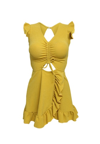 ZITIQUE yellow Women's Sexy Ribbon One-piece Swimsuit - Yellow DCE4BUSCAD89FEGS_1