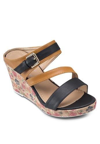 雙色印花楔型鞋, 女esprit服飾鞋, 楔形涼鞋