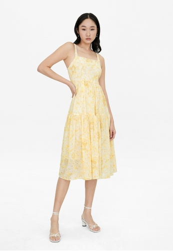 Pomelo yellow A Line Floral Stitched Dress - Yellow 925C7AABCAAF33GS_1