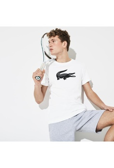 3c61ad752 Lacoste white Men's Lacoste SPORT Oversized Crocodile Technical Jersey  Tennis T-Shirt - TH3377-