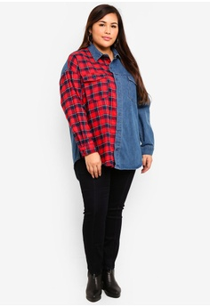 570cd117393cd 50% OFF MISSGUIDED Plus Size Splice Tartan Check Denim Shirt S  73.90 NOW  S  36.90 Sizes 16