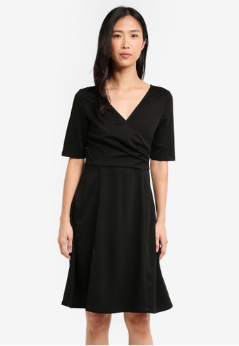 ZALORA black Pleated Faux Wrap Dress 1A8D0AA603C6E1GS_1