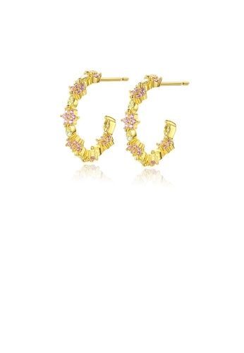 Glamorousky pink Fashion Simple Plated Gold Geometric Flower Stud Earrings with Cubic Zirconia 62D50AC23D9685GS_1