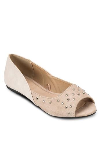 Liesprit hklah 鉚釘露趾平底鞋, 女鞋, 鞋