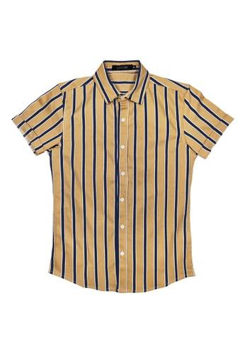 DRUM white and brown Stripe Short Sleeve Shirt - Khakis 2D800AA95010B4GS_1