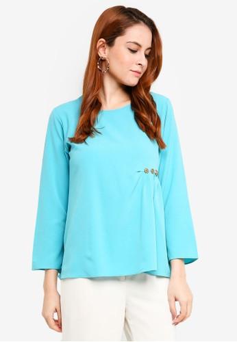 Aqeela Muslimah Wear blue Embellished Gather Top C4528AA597A98FGS_1