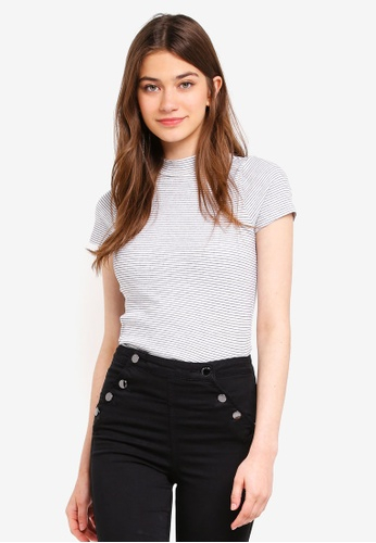 Factorie black and white Short Sleeve Ribbed Tshirt 7EDB3AA808FB8BGS_1