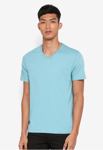 Burton Menswear London 綠色 短袖V領素色T恤 50FD9AA4642D88GS_1