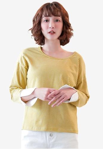 Tokichoi yellow Stripe Printed Pullover D0A31AA46BC4B2GS_1